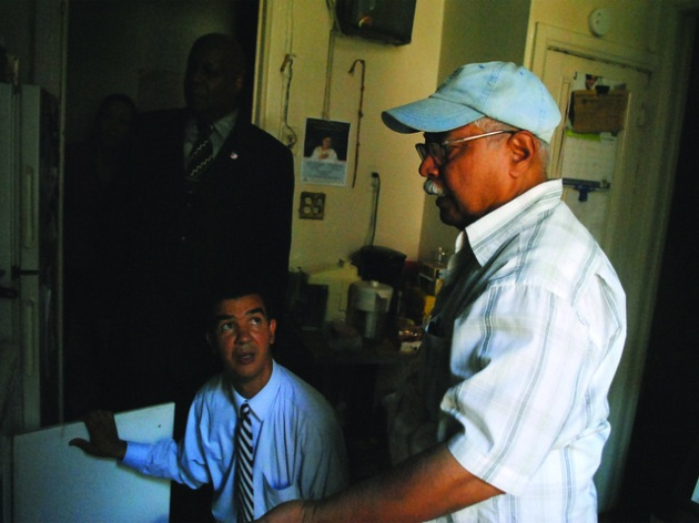 West 190th St. Tenant Kenneth Ramkisson Shows His Council Member How Rats Enter His Apartment