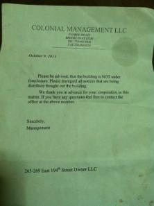 Colonial notice not in foreclosure