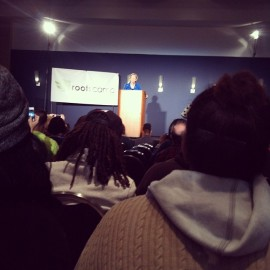 Massachusetts Senator Elizabeth Warren, opening up RootsCamp 2013!