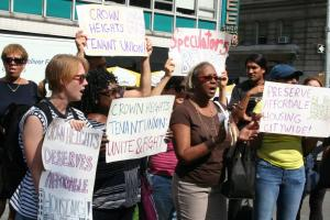 Crown Heights residents rally in front of BCB Property's office