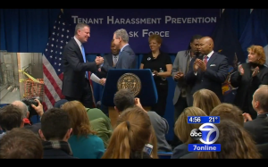 Mayor Bill de Blasio and Attorney General Schneiderman on Friday February 15, 2015.